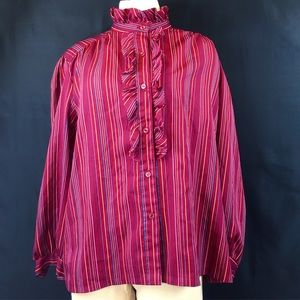 Vintage Tops - Vintage Maroon Striped High Collar Ruffled Blouse